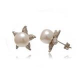 Náušnice bílá sladkovodní perla 9 mm a hvězdice