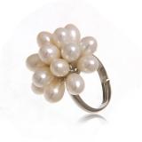 Prsten bílé perly-květ, univerzální velikost