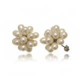 Náušnice bílé sladkovodní lesklé perly-květ