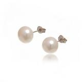 Náušnice stříbro - velké bílé perly, 8 mm