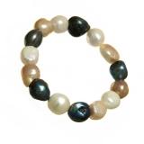 Náramek perlový, perly říční 13-14 mm, barevný