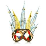 Benátská karnevalová maska-Ciuffo Arlecchino Blue