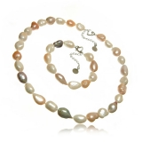 Perlový set-náramek a náhrdelník, cca 15-22 mm s vysokým leskem