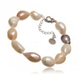 Perlový náramek,  perly říční baroko 15-22 mm