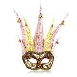 Benátská karnevalová maska-Ciuffo Arlecchina Red