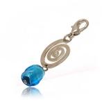 Přívěšek na karabince-modrá benátská perla