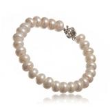 Náramek perlový, perly říční 9-10 mm, vázané
