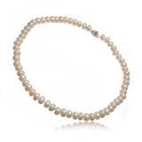 Perlový náhrdelník, perly button 9-10 mm, vázané