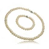 Set perel, náhrdelník a náramek, perly 9-10 mm, jednotlivě vázan