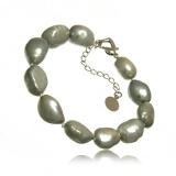 Perlový náramek, perly říční, baroko 13-22 mm, šedé
