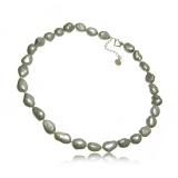 Perlový náhrdelník, perly 13-22 mm barokní, šedé