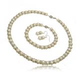 Luxusní perlový set náhrdelník, náušnice a náramek se zirkony