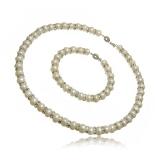 Luxusní perlový set náhrdelník a náramek se zirkony