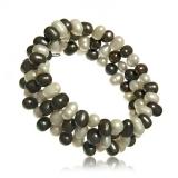 Perlový náramek, perly říční bílé a tahiti, třířadý