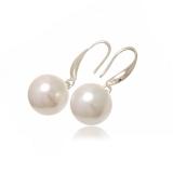 Náušnice sladkovodní perla bílá lesklá 13 mm
