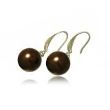 Náušnice perla měděná, hnědá 13 mm