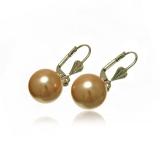 Náušnice sladkovodní perla zlatá, lesklá 13 mm