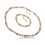 Barevný perlový set náhrdelník a náramek, vázaný