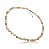 Perlový náhrdelník, barevné perly 7 mm, vázaný