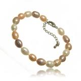 Perlový náramek, perly říční 7 mm, barevné, vázané