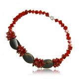 Korálový náhrdelník, korál a černý achát