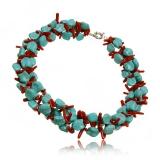 Tyrkysový náhrdelník, korál a tyrkys, třířadý