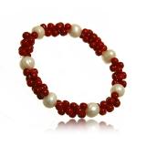 Perlový náramek, říční perly 9 mm a korál