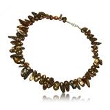 Perlový náhrdelník, perly 15-22 mm, hnědý-duhový