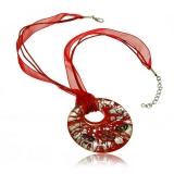 Náhrdelník sklo, červený, přívěšek skleněný kulatý, stříbro