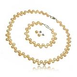 Perlový set náhrdelník, náušnice a náramek, bílý nebo růžový