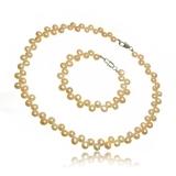 Perlový set náhrdelník a náramek, bílý nebo růžový