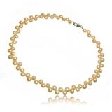 Perlový náhrdelník, perly button 7 mm, růžový