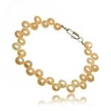Perlový náramek, perly říční,  bílé 7 mm