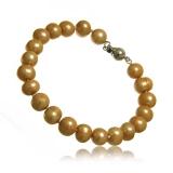 Perlový náramek, perly říční, zlato-hnědé, 7-8 mm