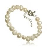 Náramek perlový, perly říční 7-8 mm, vázané