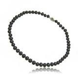 Náhrdelník s perlami, perly černé kulaté-tahiti, 43 cm