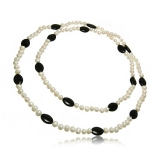 Náhrdelník perlový dlouhý, perly a černý achát