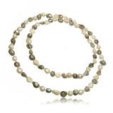 Perlový náhrdelník, perly říční bílé a šedé, Grade A