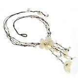 Náhrdelník - Perleť, sladkovodní perly a bavlna