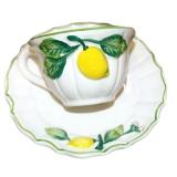 Hrnek s podšálkem, dekor citrony