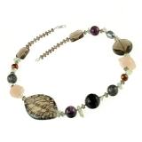 Náhrdelník s kameny-amethyst, záhněda, perly, turmalín