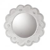 Zrcadlo kulaté velké zdobené bílou krajkou 33 cm.
