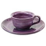 Šálek na espresso s podšálkem, keramický, malovaný-fialový