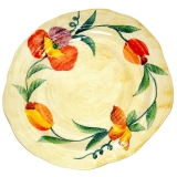 Talíř dezertní malovaný-nepravidelný, dekor vlčí mák, tulipán