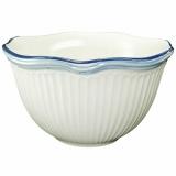 Miska porcelán bílá s modrým lemem a retro proužky