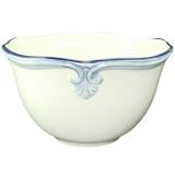 Miska porcelán bílá s modrým malovaným lemem