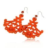 Náušnice dřevěné se stříbrem-oranžové-vyřezávaná krajka