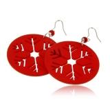 Náušnice dřevěné se stříbrem vánoční vločka-červené