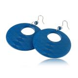 Náušnice dřevěné se stříbrem Geometrické-azurově modré