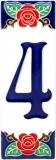 Keramická kachle na zeď - dekorace s číslem 4